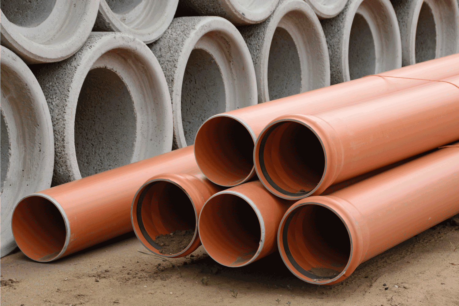 Construction site, concrete sewage and PVC pipe tubes material for waste water and sanitary.