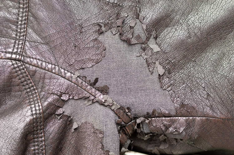 Detail of leather jacket peeled