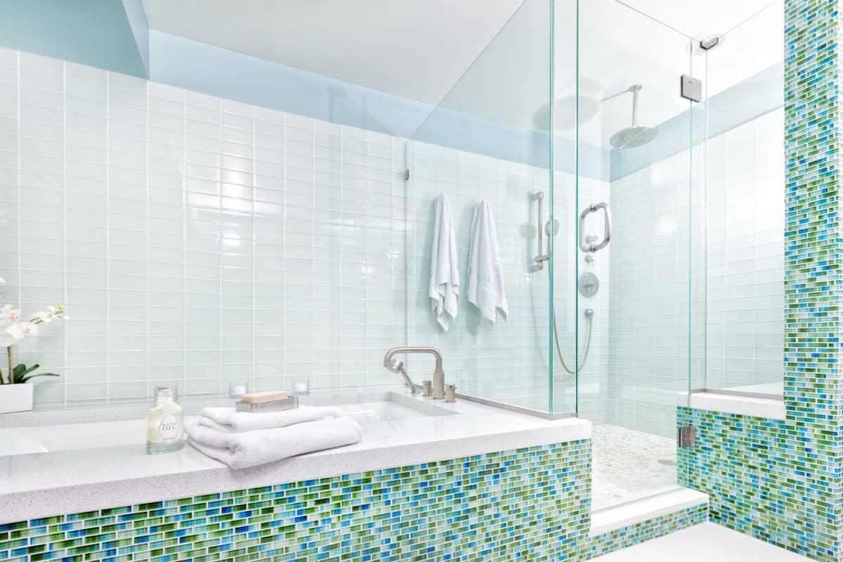 Interior of a modern mint green bathroom