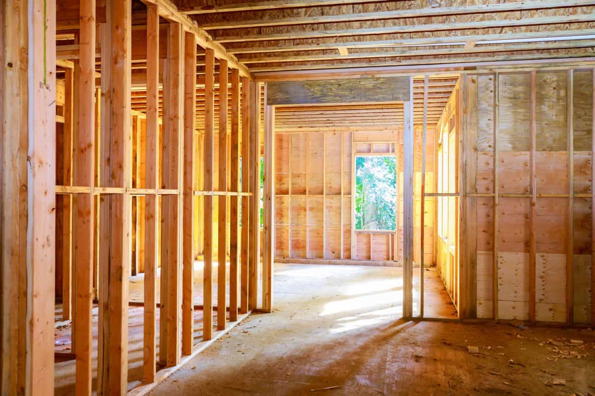 New house under construction beam framework frame house