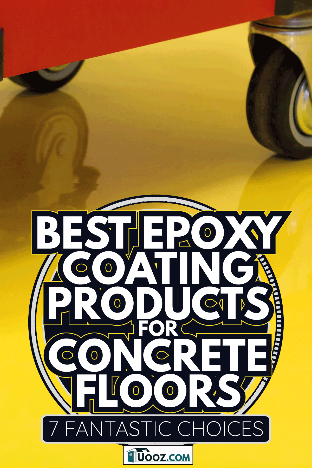 Wheels of Drawer roller tool cabinet on the yellow epoxy floor. Best Epoxy Coating Products For Concrete Floors [7 Fantastic Choices]
