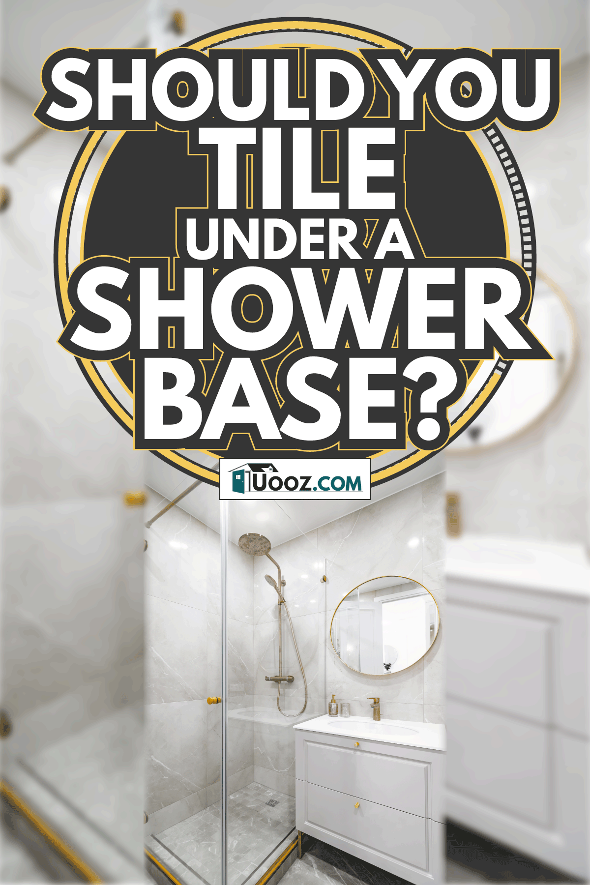 bathroom with shower cabin and sink, bright colours. Should You Tile Under A Shower Base